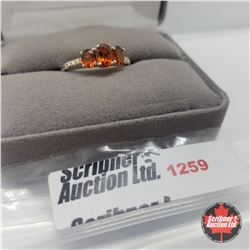 Ring - Size 8: Hessonite Garnet - Sterling Silver