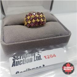 Ring - Size 8: Garnet - Sterling Silver - 14k Overlay