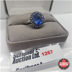 Ring - Size : Chinese Blue Fluorite - Sterling Silver - Platinum Bond Overlay