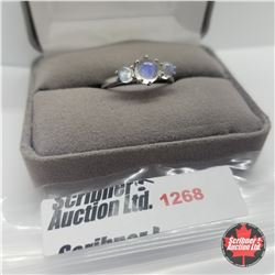 Ring - Size 8: Rainbow Moonstone - Sterling Silver