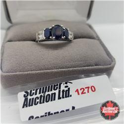 Ring - Size 8: Kanchanaburi Sapphire & White Topaz - Sterling Silver - Platinum Bond Overlay