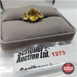 Ring - Size 8: Citrine - Sterling Silver - Platinum Bond Overlay