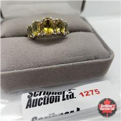 Ring - Size 8: Alexite - Topaz - Sterling Silver - Platinum Bond Overlay