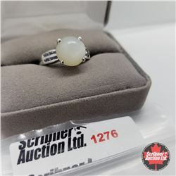 Ring - Size 8: Tanzanite Moonstone - Sterling Silver - Platinum Bond Overlay