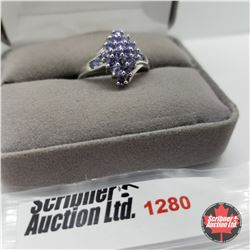 Ring - Size 8: Tanzanite - Sterling Silver - Platinum Bond Overlay