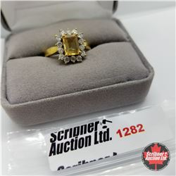 Ring - Size 8: Citrine - Sim Diamond - Sterling Silver - 14k Overlay
