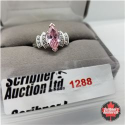 Ring - Size 8: Simulated Pink Sapphire - Platinum Overlay - Sterling Silver