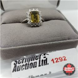Ring - Size 8: Alexite - Sterling Silver - Platinum Bond Overlay