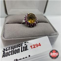 Ring - Size 8: Alexite & Garnet - Sterling Silver - Platinum Bond Overlay
