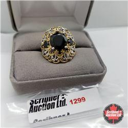 Ring - Size 8: Black Spinel - Sterling Silver - 14k Overlay
