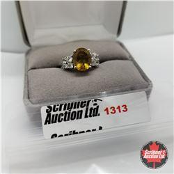 Ring - Size 9: Alexite - Sim Diamond - Sterling Silver - Platinum Bond Overlay