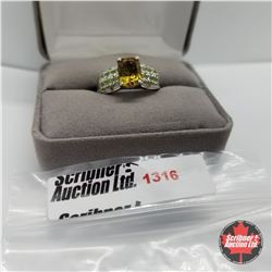 Ring - Size 9: Alexite - Peridot - Sterling Silver - Platinum Bond Overlay