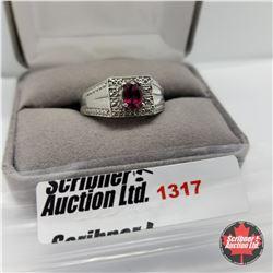 Mens Ring - Size 10: Garnet - Diamond Platinum Overlay - Sterling Silver