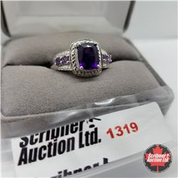 Ring - Size 10: Amethyst - Platinum Overlay - Sterling Silver