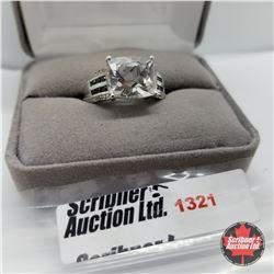 Ring - Size 10: Golconda Topaz - Black Spiral - Sterling Silver - Platinum Bond Overlay