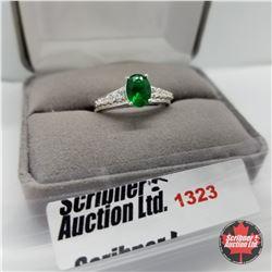 Ring - Size 9: Sim Emerald / Sim Diamond - Sterling Silver