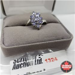 Ring - Size 9: Tanzanite - Platinum Overlay - Sterling Silver