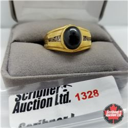 Mens Ring - Size 12:  Black Spinel - Sterling Silver - 14k Overlay