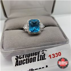 Ring - Size 9: Lab Blue Topaz - Sterling Silver