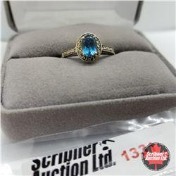 Ring - Size 9: London Blue Topaz - Platinum Bond Overlay - Sterling Silver