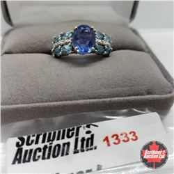 Ring - Size 9: Chinese Blue Fluorite - Sterling Silver - Platinum Bond Overlay