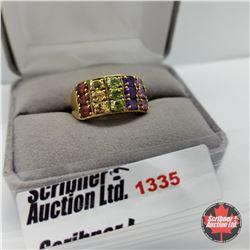 Ring - Size 9: Multi Color (Citrine, Garnet, Peridot, Amethyst) - Sterling Silver - 14k Overlay