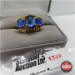 Ring - Size 9: Titanium Quartz Blue - Sterling Silver - Stainless