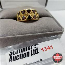 Ring - Size 9: Garnet - Sterling Silver - 14k Overlay