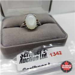 Ring - Size 9: Silver Moonstone / Garnet (Platinum Bond)