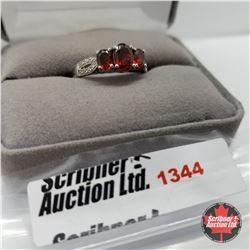 Ring - Size 9: Garnet 3 Stone - Sterling Silver