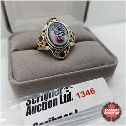 Ring - Size 9: Drusy Garnet - Sterling Silver - 14k Overlay