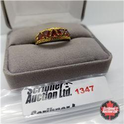 Ring - Size 9: Garnet 5 Stone - Sterling Silver - 14k Overlay