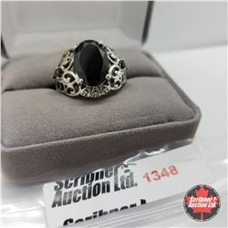 Ring - Size 9: Black Spinel - Sterling Silver