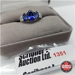 Ring - Size 9: Simulated Blue Sapphire White Topaz (Platinum Overlay)