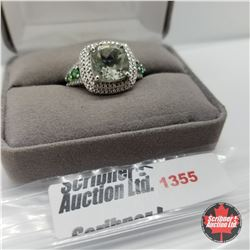 Ring - Size 9: Green Amethyst (Platinum Overlay)
