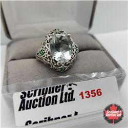 Ring - Size 9: Prasiolite Simulated Green Diamond - Sterling Silver  - Platinum Bond Overlay