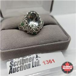 Ring - Size 9: Prasiolite Simulated Emerald - Sterling Silver - Platinum Bond Overlay
