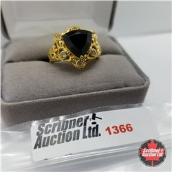 Ring - Size 9: Thai Black Spinel White Topaz - Sterling Silver - 18k ION Plated Brass