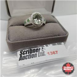 Ring - Size 9: Green Amethyst Simulated Emerald (Platinum Bond)