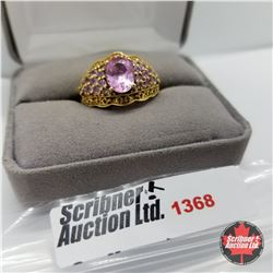 Ring - Size 9: Lab Pink Sapphire - Sterling Silver  - 14k Overlay