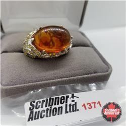 Ring - Size 9: Baltic Amber Simulated Yellow Diamond (Platinum Overlay)