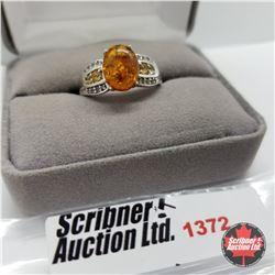 Ring - Size 9: Baltic Amber Citrine White Topaz - Sterling Silver - Platinum Bond Overlay