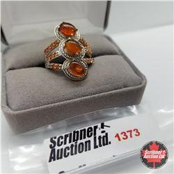 Ring - Size 7: Baltic Amber Poppy Fire Topaz - Sterling Silver - Platinum Bond Overlay