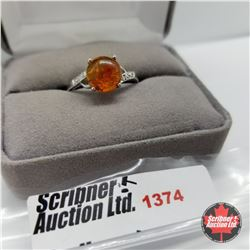 Ring - Size 10: Baltic Amber - Sterling Silver - Platinum Bond Overlay