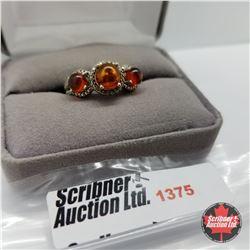 Ring - Size 7: Baltic Amber Diamond (Platinum Overlay)