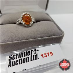 Ring - Size 8: Baltic Amber - Sterling Silver - Platinum Bond Overlay
