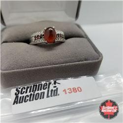 Ring - Size 9: Hessonite Garnet - Platinum Bond Overlay