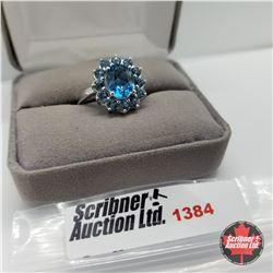 Ring - Size 10: London Blue Topaz - Sterling Silver - Platinum Bond Overlay