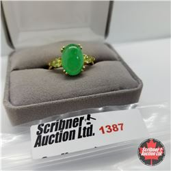 Ring - Size 10: Jade Peridot - Sterling Silver - 14k Overlay