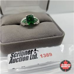 Ring - Size 10: Simulated Emerald - Sterling Silver